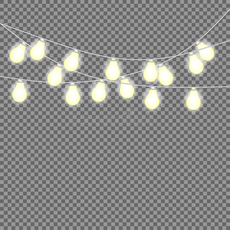 Set of overlapping, glowing string lights. Christmas glowing lights. Garlands, Christmas decorations. stock illustration