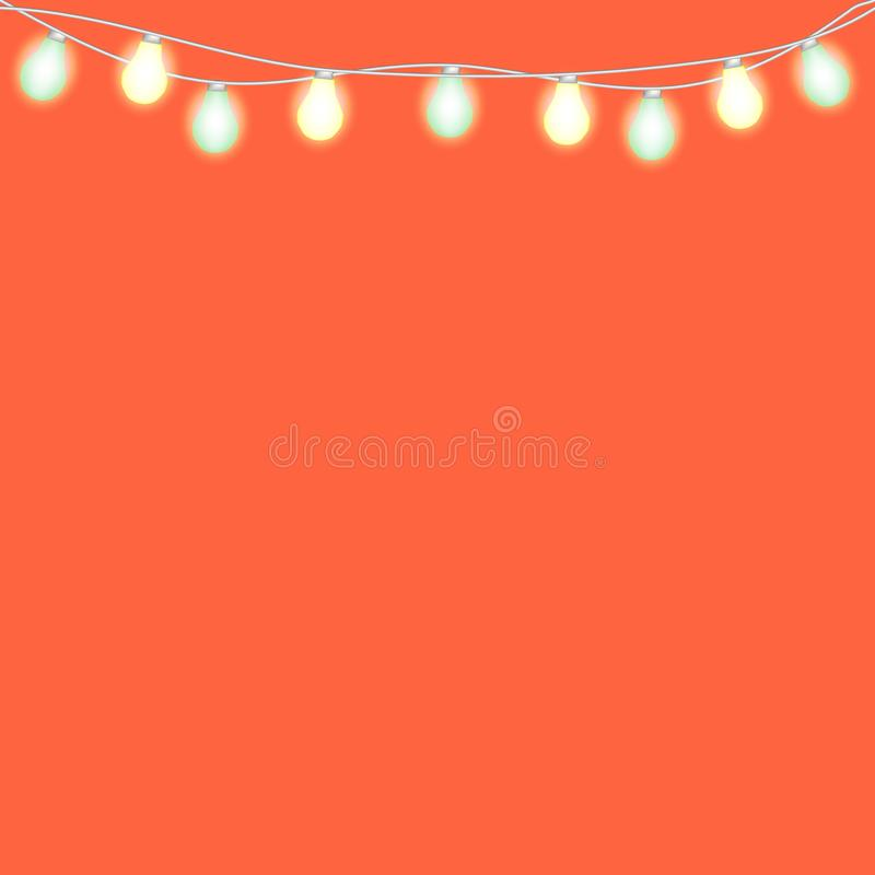 Set of overlapping, glowing string lights. Christmas glowing lights. Garlands, Christmas decorations. Glowing lights for Party, Holiday, New Year, birthday or stock illustration