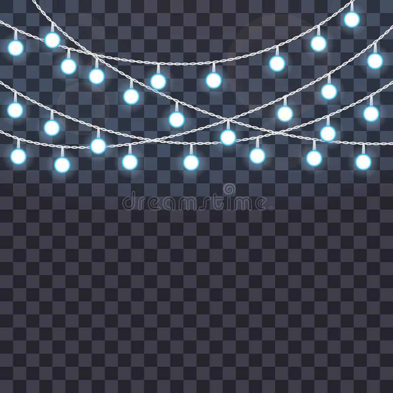 Set of overlapping, glowing string lights on a transparent background. Vector illustration stock illustration