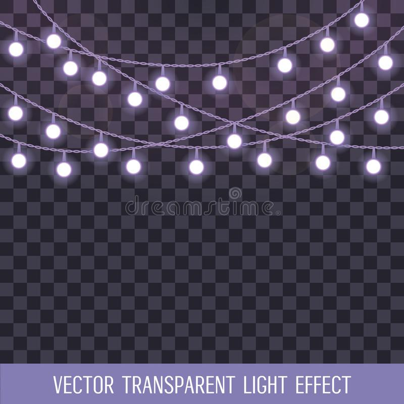 Set of overlapping, glowing string lights on a transparent background. Vector illustration royalty free illustration