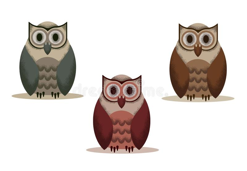 Set of owl vector with noises on a transparent background of different shades vector illustration