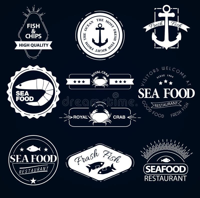 Set owoców morza logowie Kraba homara restauracja ilustracja wektor