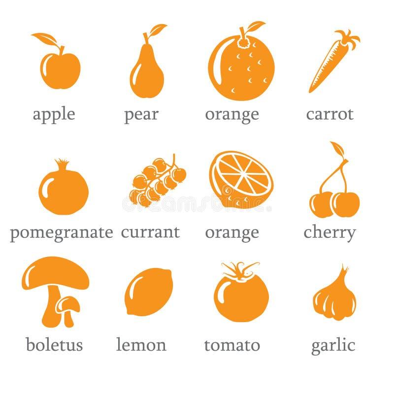 Set owoc i warzywo ikony ilustracji