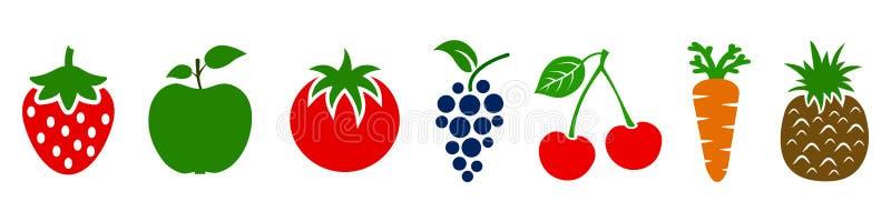 Set owoc i warzywo ikony Rozmaitość produkty, zdrowa karmowa kolekcja truskawka, jabłko, ananas, wiśnia, winogrono ilustracja wektor