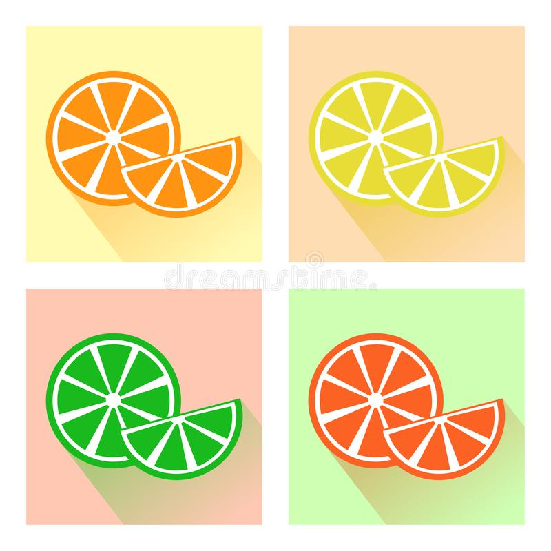 Set owoc, kolorowe cytrus ikony wektor royalty ilustracja