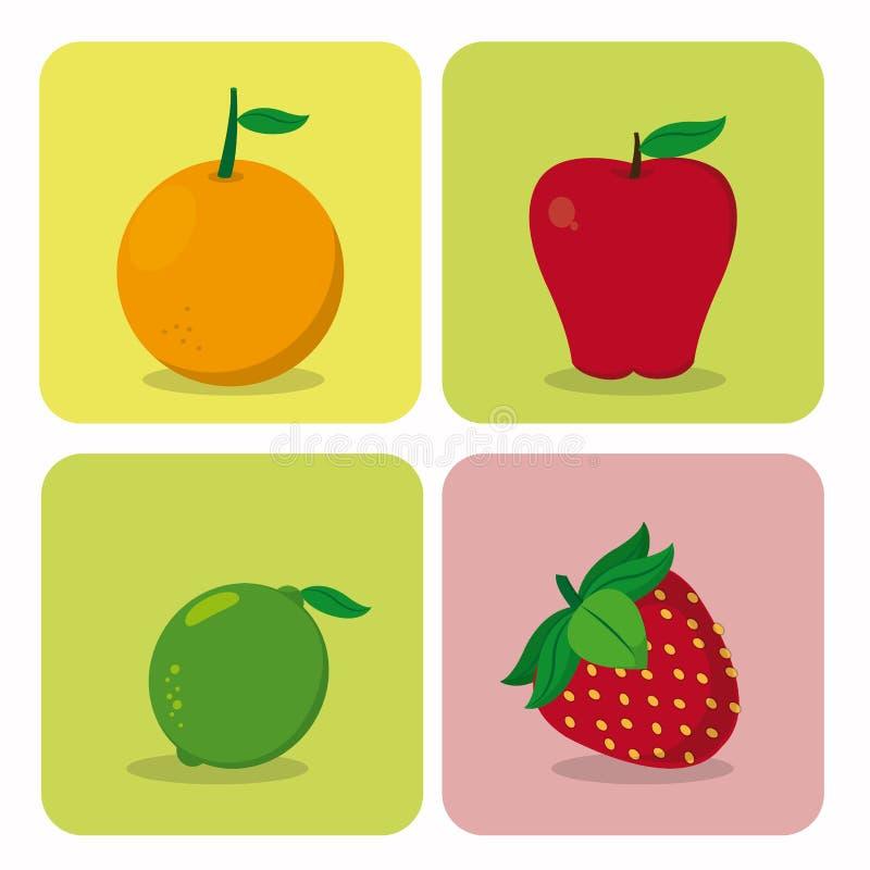 Set owoc kreskówki ilustracji