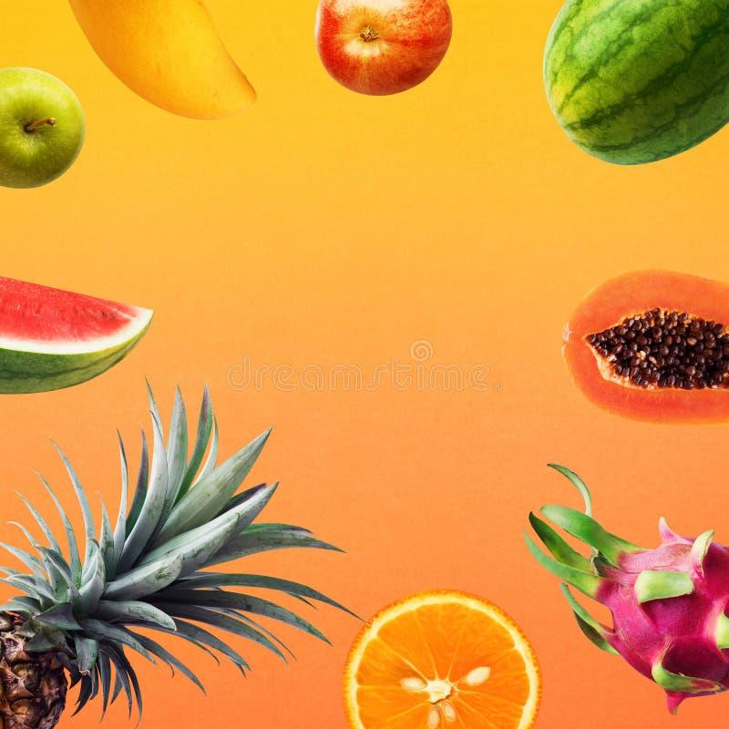 Set owoc na olor tle wakacyjni lat pojęcia Zdrowy zdjęcie royalty free