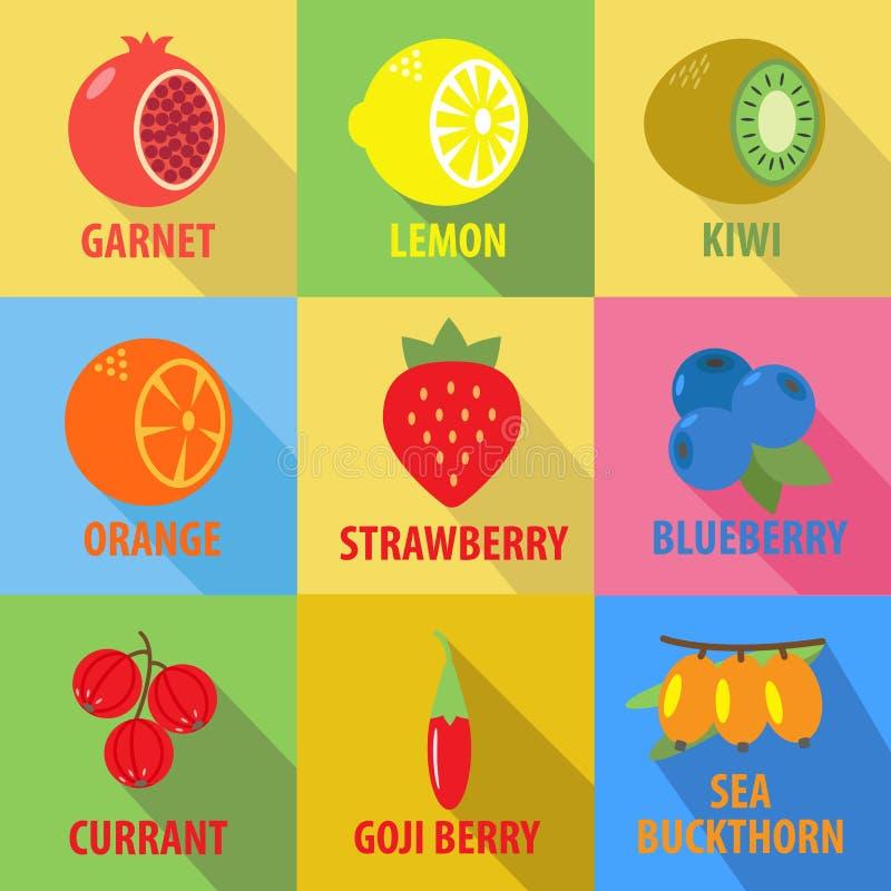 Set owocowe ikony w płaskim projekcie z długimi cieniami royalty ilustracja