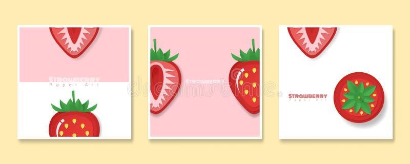 Set owocowi sztandary z truskawką w papierowym sztuka stylu ilustracja wektor