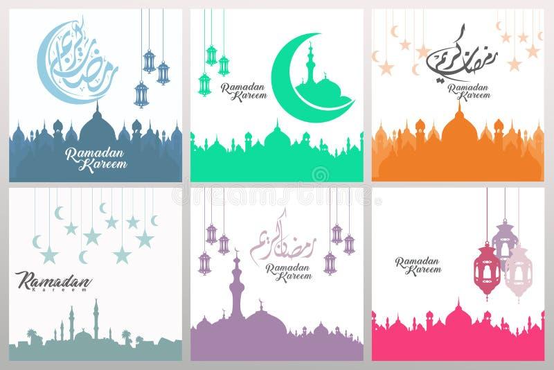Set ozdobne kwadratowe kartki z pozdrowieniami z Ramadan kaligrafią i ornamentu zawijasa ramą ilustracja ilustracji