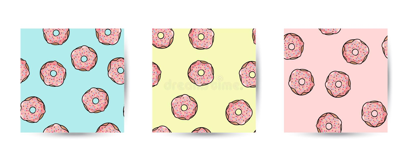 Set pączek doodles bezszwowych wzory Różowi donuts z polewą na pastelowym tle ?liczny kresk?wki t?a szablon ilustracji