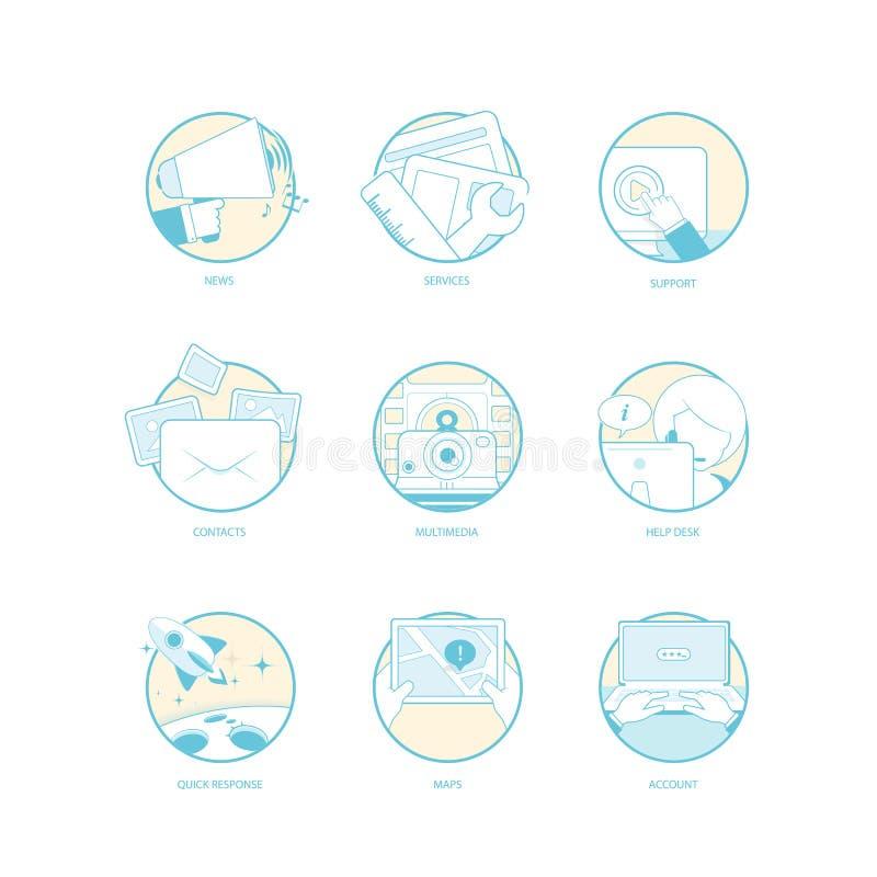 Set płascy kolorowi pojęcie elementy z ikonami dla strony internetowej, wisząca ozdoba, druku materiały i broszurka, lub royalty ilustracja