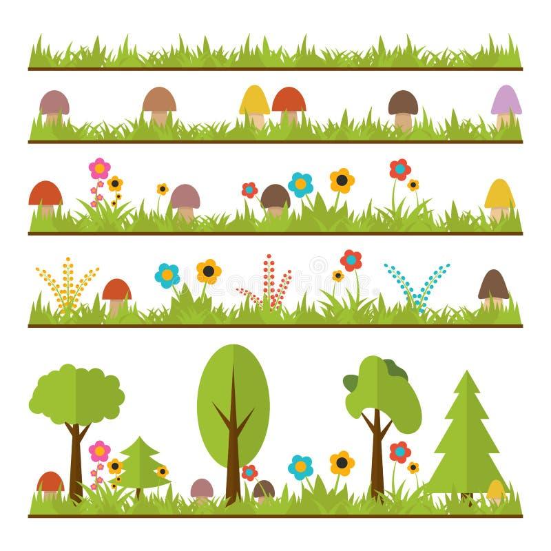 Set płascy lasowi projektów elementy Pieczarki, trawa, jagody, t ilustracji