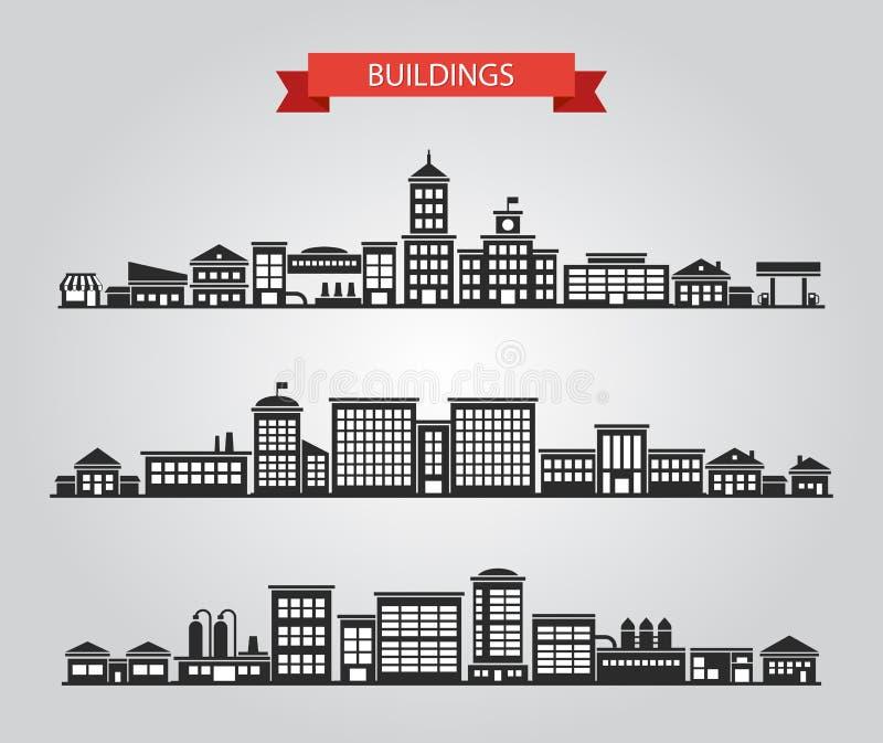 Set płascy projektów budynków piktogramy ilustracja wektor