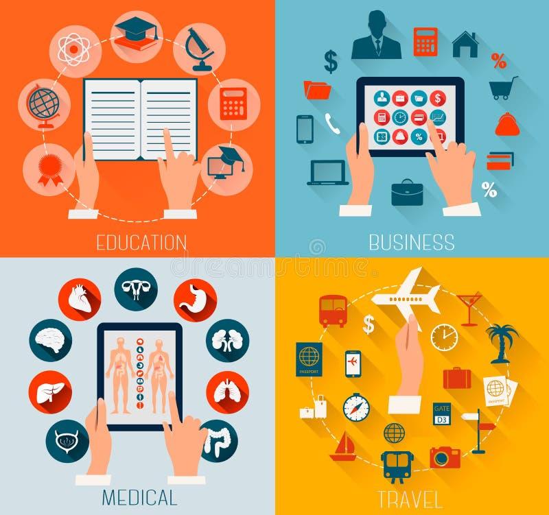 Set płascy projektów tła dla edukaci, biznes, podróżuje a ilustracja wektor