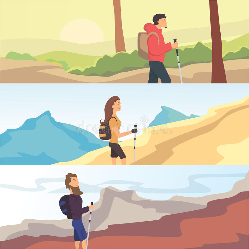 Set płascy wektorowi sieć sztandary na temacie Wycieczkuje, Trekking, Chodzi Sporty, plenerowy odtwarzanie, przygody w naturze royalty ilustracja