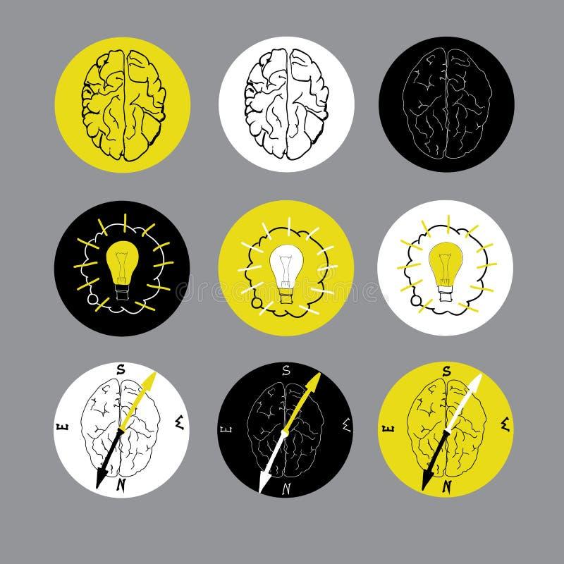 Set płaska ikona z mózg ilustracja wektor