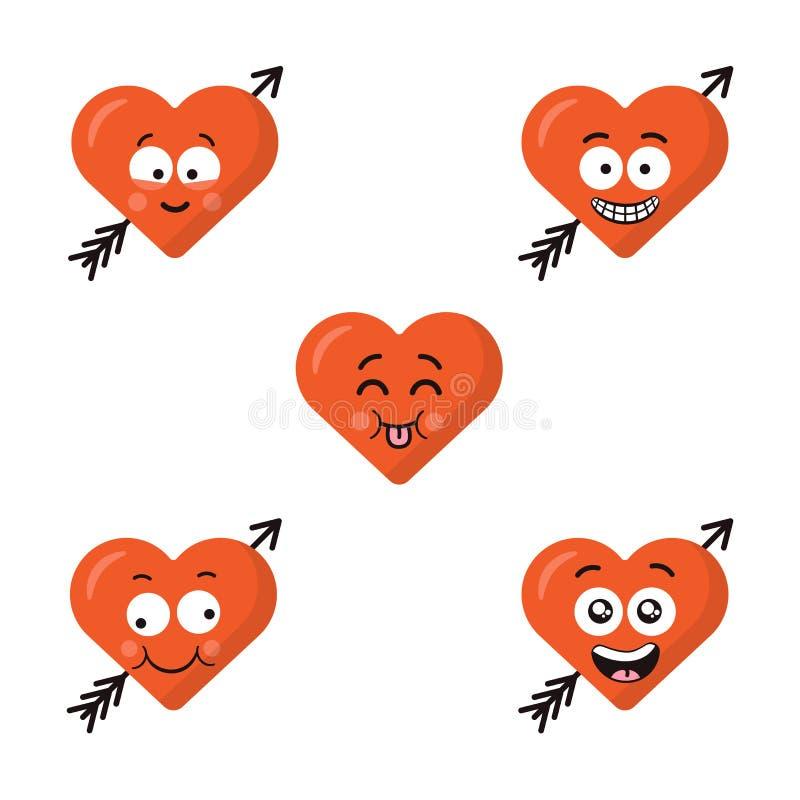 Set płaski śliczny emoji serce stawia czoło z strzała odizolowywającą na białym tle Szczęśliwe emoticons twarze Kolekcja royalty ilustracja