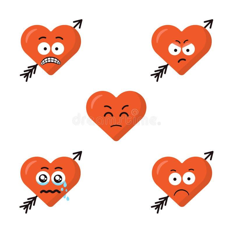 Set płaski śliczny kreskówki emoji serce stawia czoło z strzała odizolowywającą na białym tle Smutne emoticons twarze nowożytny royalty ilustracja