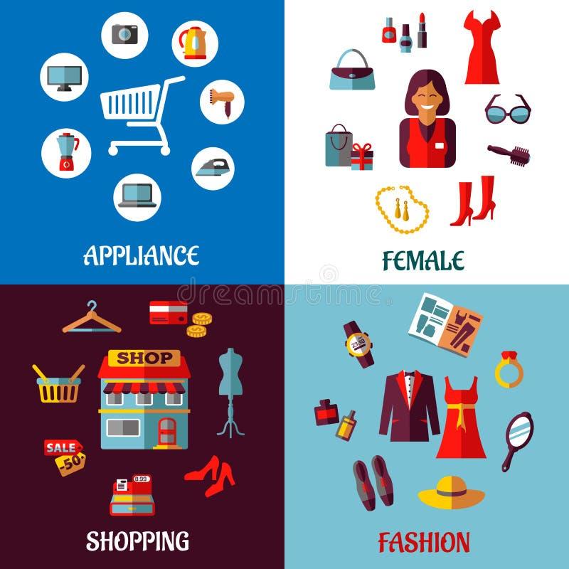 Set płaski kolorowy kobiety i urządzenia zakupy ilustracji