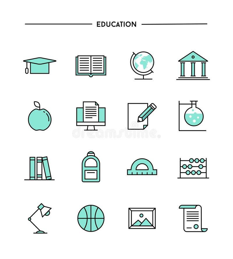 Set płaski projekt, cienieje kreskowe edukacj ikony royalty ilustracja