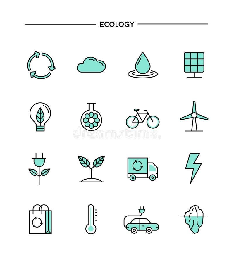 Set płaski projekt, cienieje kreskowe ekologii ikony royalty ilustracja