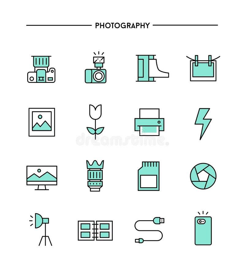 Set płaski projekt, cienieje kreskowe fotografii ikony royalty ilustracja