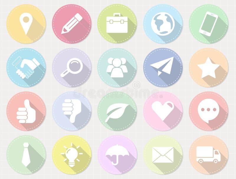 Set płaskie biznesowe ikony z długim cieniem ilustracja wektor