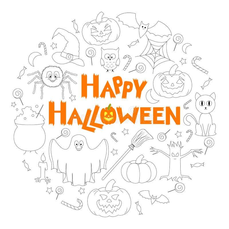 Set Płaskie Halloweenowe ikony w postaci okręgu z gratulacjami royalty ilustracja