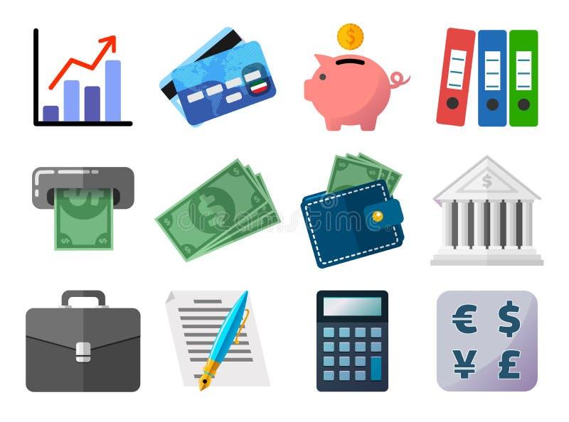 Set płaskie ikony, biznes, finanse, pojęcie, analiza i stats, pieniądze i zapłaty, kredytowa klingerytu karta, prosiątko bank royalty ilustracja