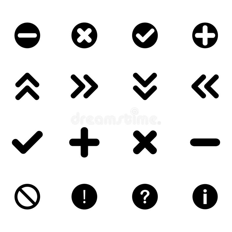 Set płaskie ikony strzała i różnorodni znaki - ilustracja wektor