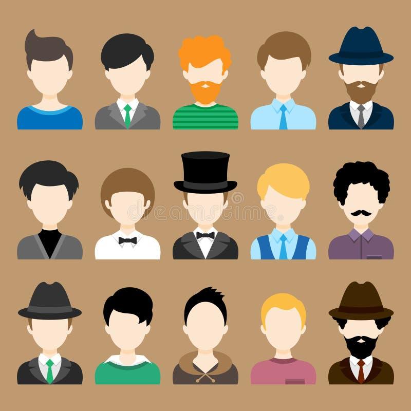 Set Płaskie ikony z mężczyzna charakterami royalty ilustracja