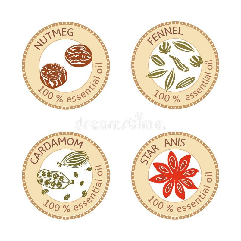 Set płaskie istotnego oleju etykietki procent 100 Nutmeg, koper, kardamon, gwiazdowy anyż ilustracji