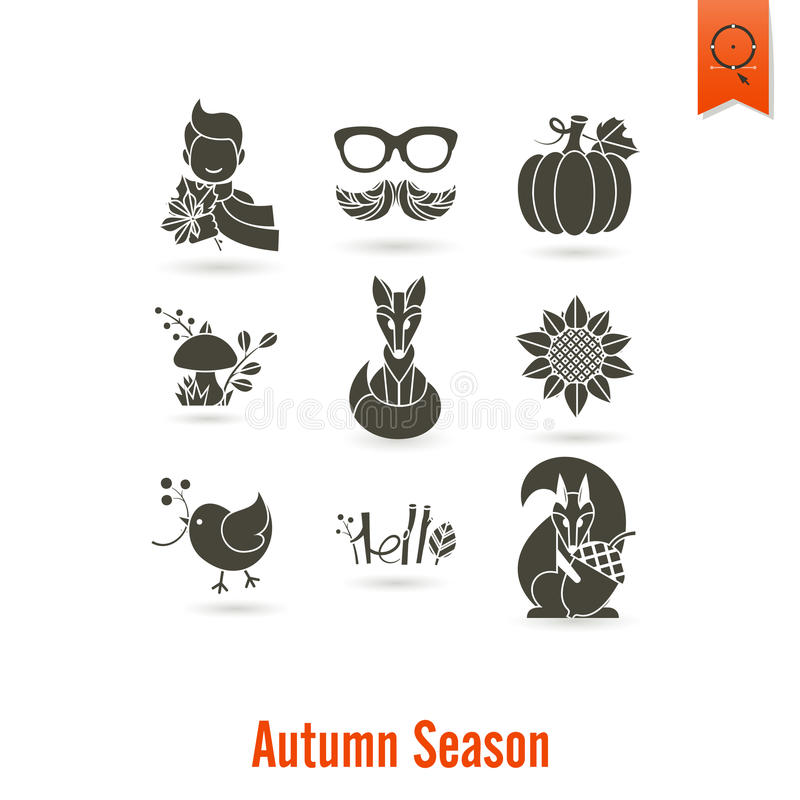 Set Płaskie jesieni ikony ilustracja wektor