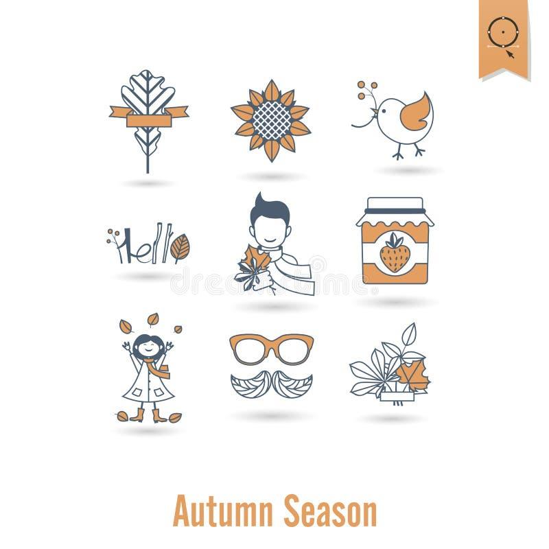 Set Płaskie jesieni ikony ilustracji