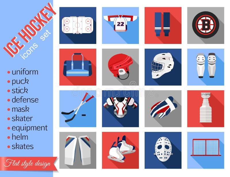 Set płaskie lodowego hokeja ikony ilustracja wektor