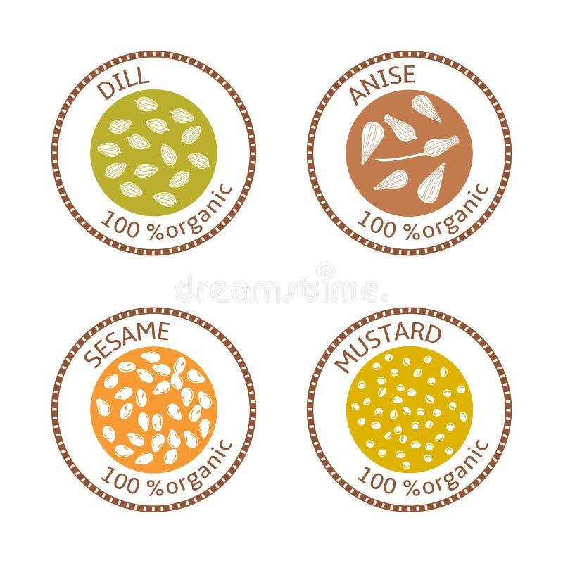 Set płaskie pikantność znaczka etykietki 100 organicznie Kolekcja ilustracji