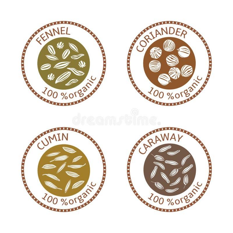 Set płaskie pikantność znaczka etykietki 100 organicznie Kolekcja royalty ilustracja