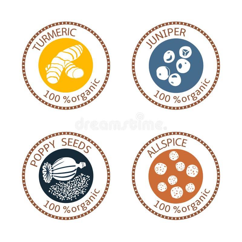 Set płaskie pikantność znaczka etykietki 100 organicznie Kolekcja ilustracja wektor