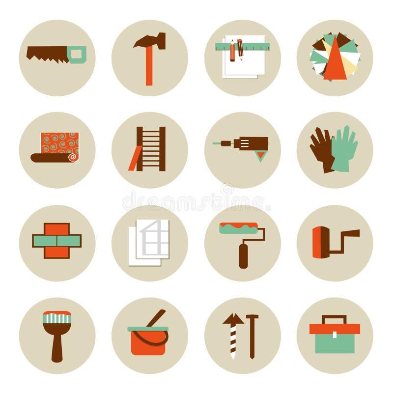 Set płaskie pracujących narzędzi ikony Naprawia ich swój ilustracji