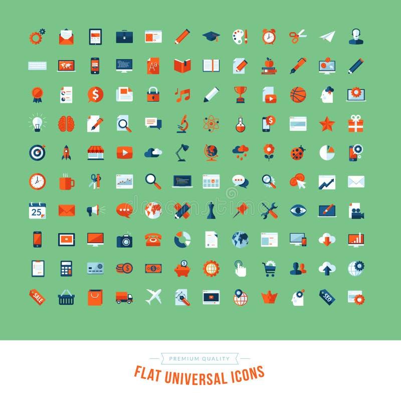 Set płaskie projekt cechy ogólnej ikony royalty ilustracja