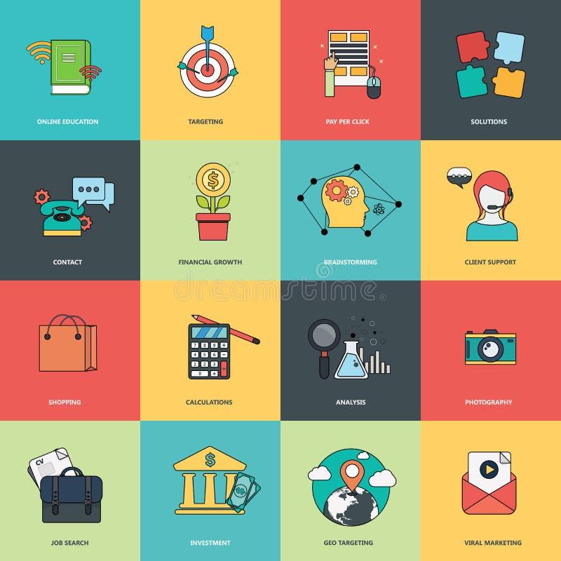 Set płaskie projekt ikony dla biznesu i zarządzania Ikony dla strona internetowa rozwoju, telefonów komórkowych apps i usługa i royalty ilustracja