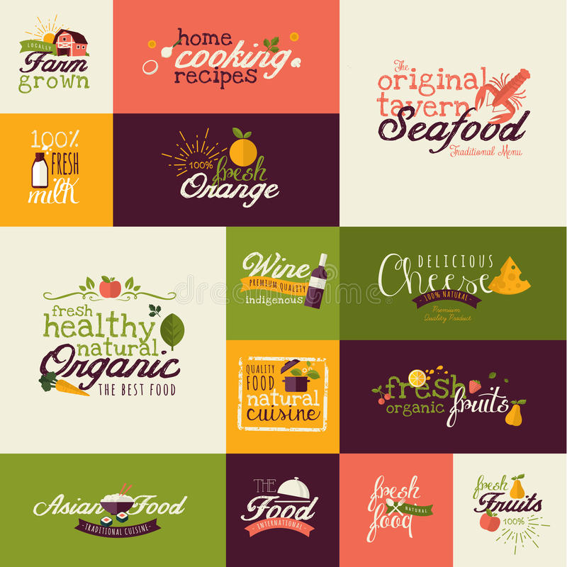 Set płaskie projekt ikony dla jedzenia i napoju ilustracja wektor
