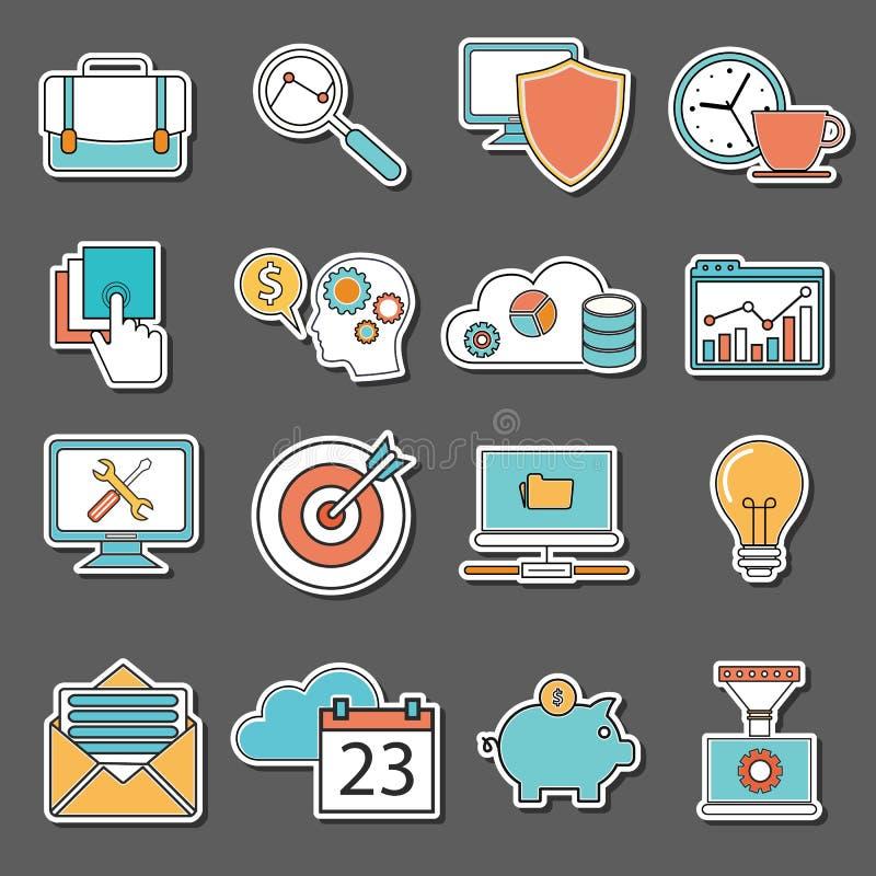 Set płaskie projekt ikony, majchery dla biznesu, SEO i Ogólnospołeczny medialny marketing, royalty ilustracja