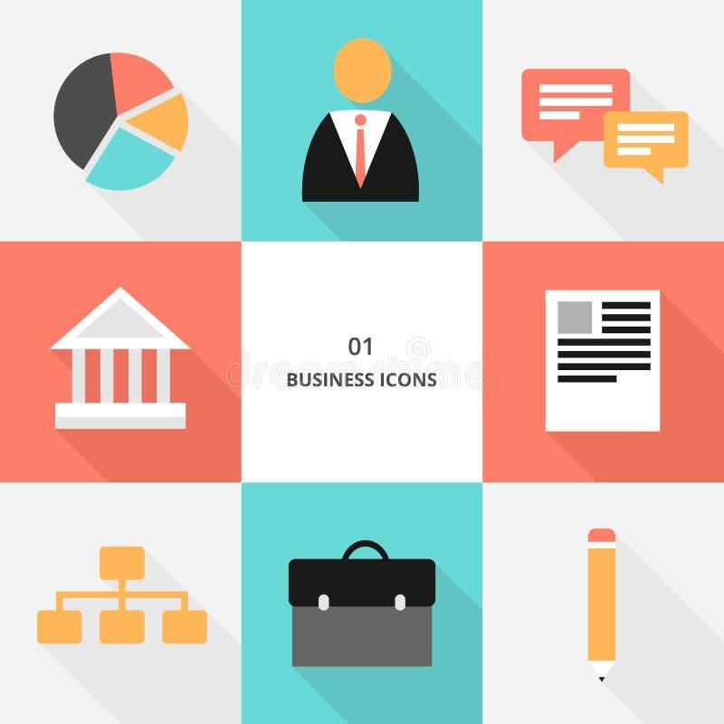Set 01 - płaskie projekta biznesu ikony ilustracja wektor