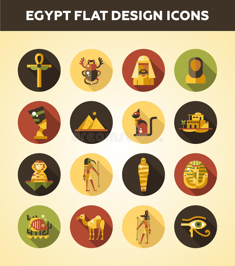 Set płaskie projekta Egipt podróży ikony