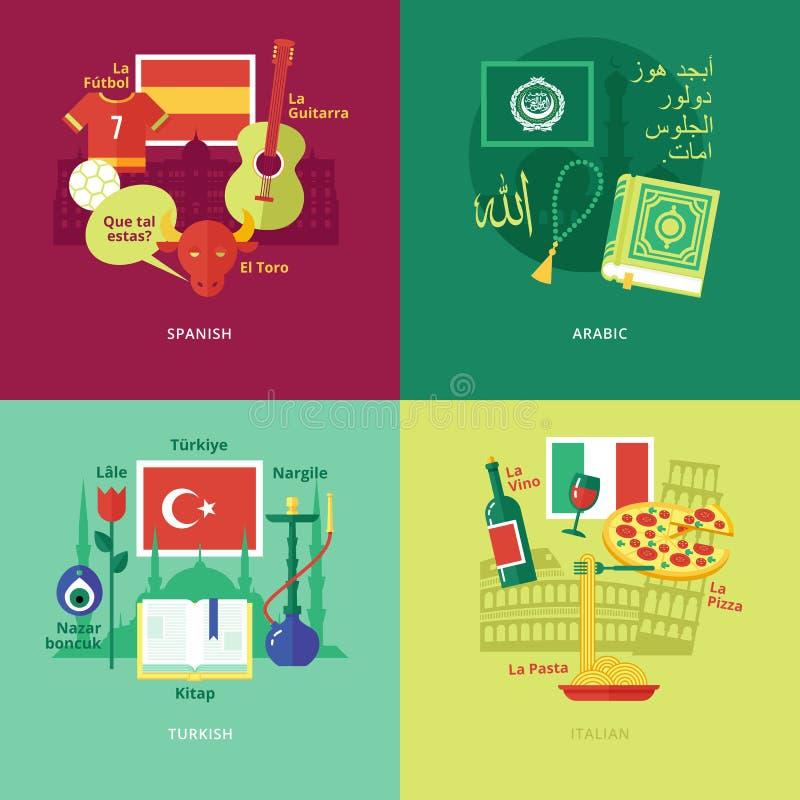 Set płaskie projekta pojęcia ikony dla języków obcych royalty ilustracja