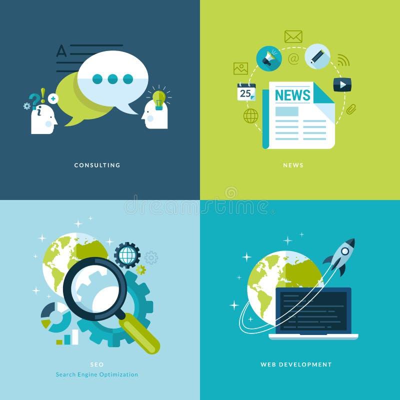 Set płaskie projekta pojęcia ikony dla sieci, wiszących ozdób apps i usługa i