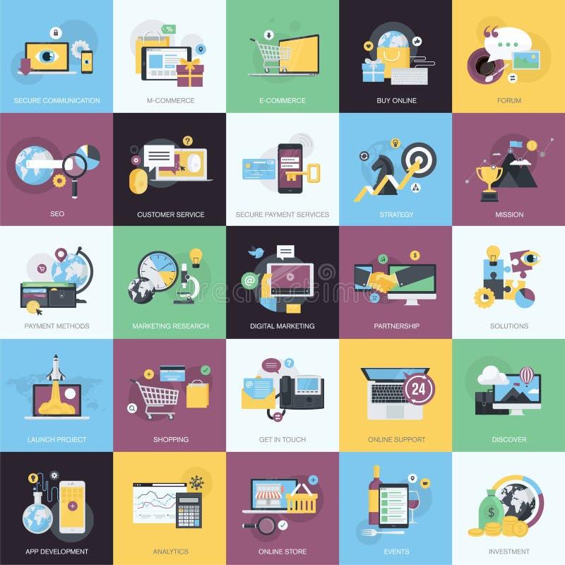 Set płaskie projekta stylu ikony dla handlu elektronicznego i handlu