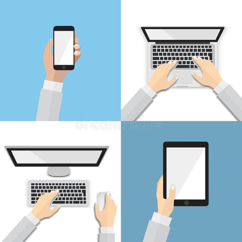 Set płaskie ręk ikony z różnorodnymi urządzeniami łącznościowe Używać mądrze telefon, laptop, desktop, pastylka, płaski projekta  ilustracji